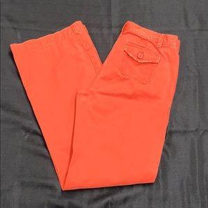 J. Crew Low Fit Orange Broken in Flare Jeans